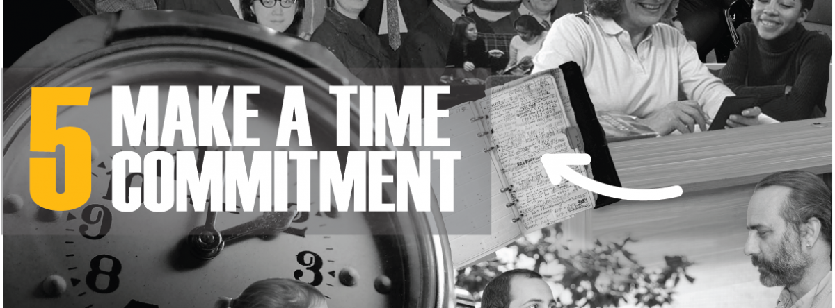 #5 Make a Time Commitment. Collage of clock image, notebook, and professors talking.